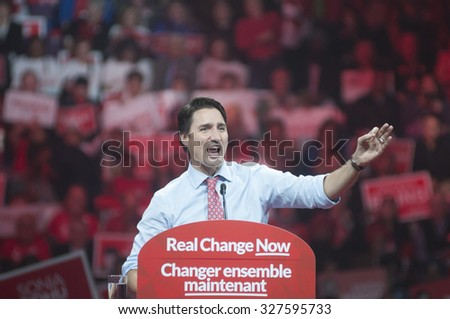 BRAMPTON - OCTOBER 4 :Justin Trudeau speaking  in an election rally of the Liberal Party of Canada on October 4, 2015 in Brampton, Canada.
