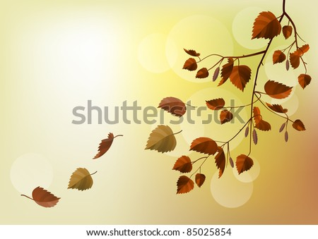 Branch with autumn leaves on light beige background. Raster version.