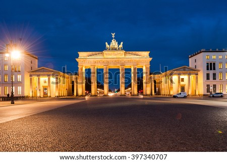 Brandenburg Gate (Brandenburger Tor), Berlin, Germany at twilight
