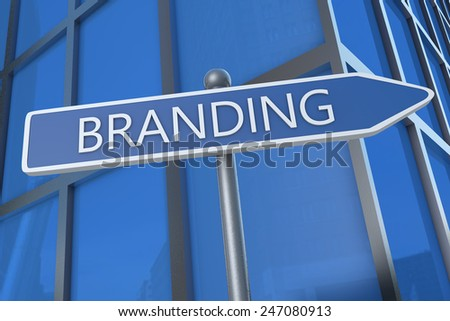 Branding - illustration with street sign in front of office building.