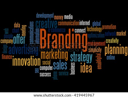 Branding, word cloud concept on black background.