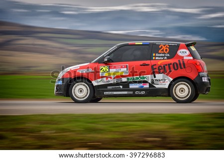 BRASOV, ROMANIA - March 26 : Unknown pilots competing in Tess Rally Brasov 2016 on March 25 - 27, in Brasov, Romanaia