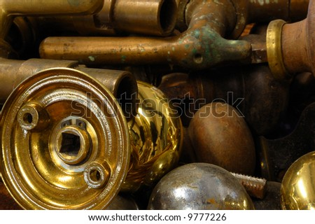 Brass & wooden door handles
