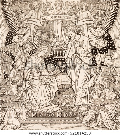 BRATISLAVA, SLOVAKIA, NOVEMBER - 21, 2016: The lithography of Nativity in Missale Romanum by unknown artist with the initials F.M.S from end of 19. cent. and printed by Typis Friderici Pustet.