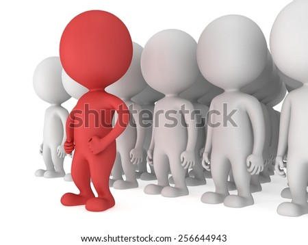 Brave red leader before a crowd before a white crowd. Isolated on white 3d render. Leader, out of crowd concept.