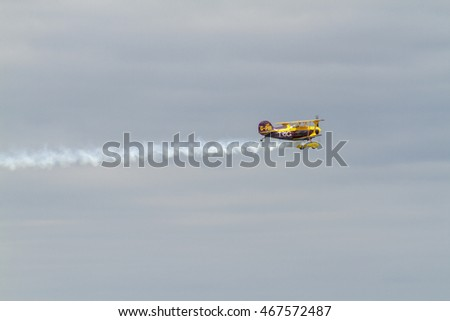 BRAY, IRELAND - JULY 2014 - 1942 Boeing Stearman Biplane G-THEA . Bray Air Display in July of 2014