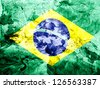 Brazil. Brazilian flag  painted dirty and grungy paper - stock photo