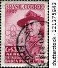 BRAZIL - CIRCA 1957: A stamp printed in Brazil shows Robert Baden-Powell (1857-1941), circa 1957 - stock photo