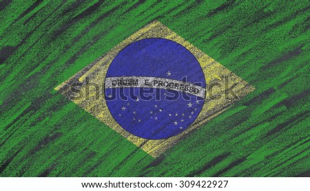 Brazil flag painted with chalk on a blackboard.