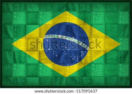 Brazil flag pattern on synthetic leather texture, 3d illustration style