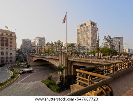 Brazil, State of Sao Paulo, City of Sao Paulo, View of the Viaduto do Cha and Theatro Municipal in the background.