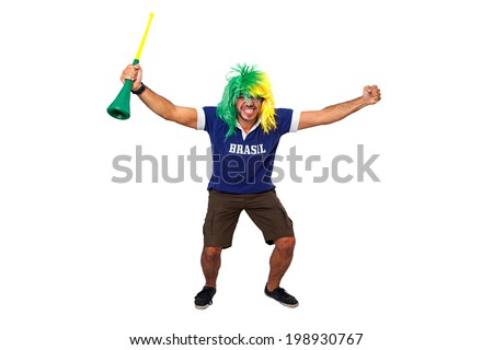 Brazilian man cheering for Brazil on white background