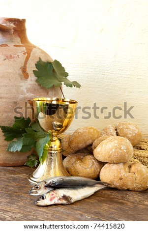 Wine loaves bread fresh fish old stock photo 29895112 for Fishing with bread