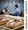 Bread baked in wood oven - stock photo