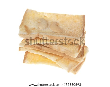 Bread Butter Crisp with Cashews nuts on white background