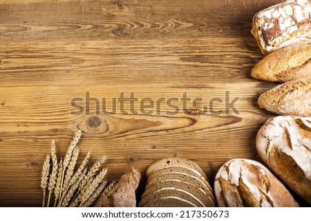 Homemade Breads Bun On Wood Background Stock Photo