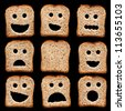 Bread slices with happy sad and other facial expressions - isolated on black - stock photo