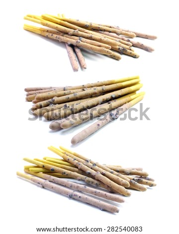 bread stick with cream on white background