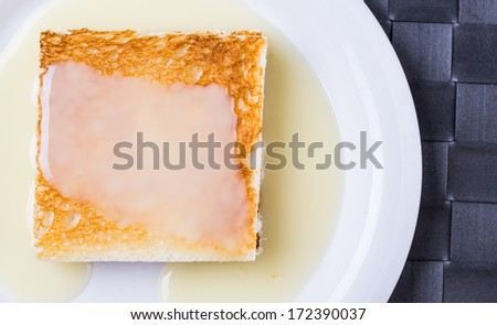 Bread toast and condensed milk