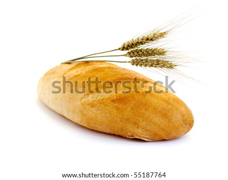 Bread with wheat cones on a white background