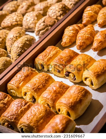 Breakfast buffet with chocolate stuffed puff pastry at hotel. See more from this session