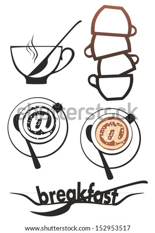 breakfast coffee and internet symbols