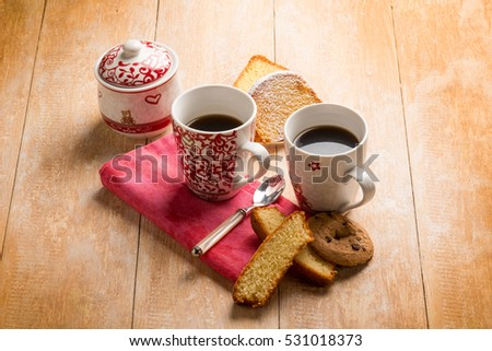 breakfast with coffee cake and cookie