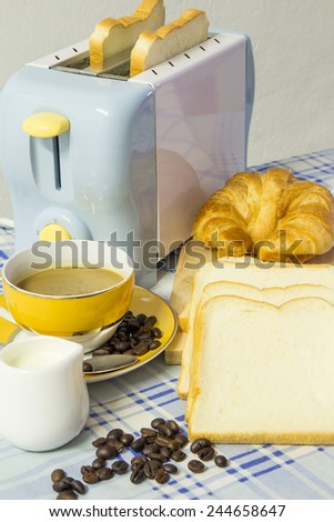 Breakfast with coffee,croissant and bread