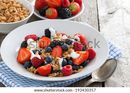 breakfast with fresh berries, yogurt and homemade granola, horizontal, close-up