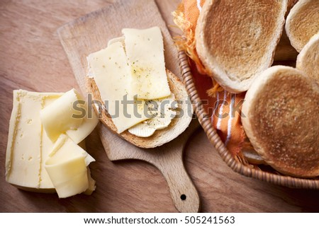 Breakfast with toast bread and cheese