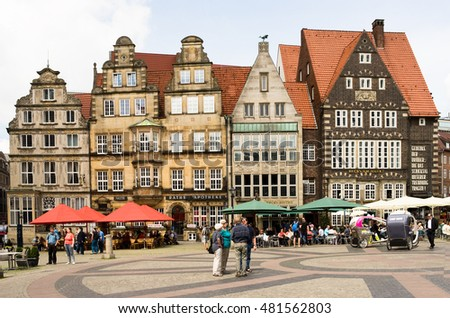 BREMEN, GERMANY - JULY 17, 2016: facade of old Guilde houses at the market square in Bremen.