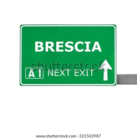 BRESCIA road sign isolated on white