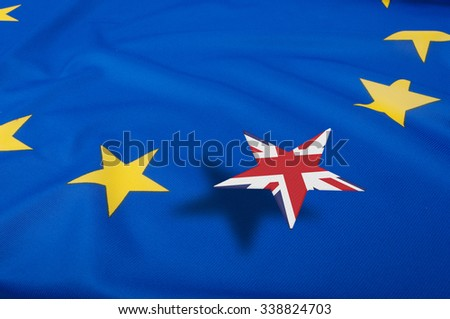 Brexit - European Union Flag  With Great Britain Star Leaving