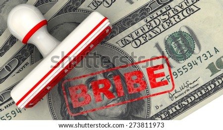 Bribe. Seal and imprint on American banknote