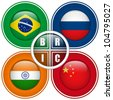 BRIC Countries Buttons Brazil Russia India China - stock photo