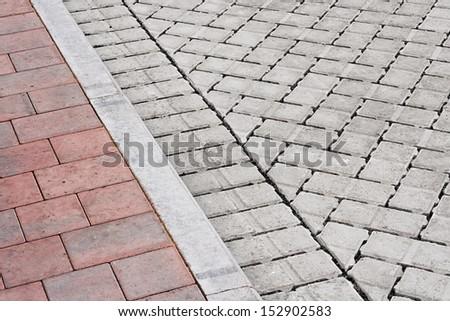 brick paving types pink sidewalk curb stock photo 152902583