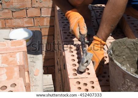 Welder Using Measuring Length Pipe Before Stock Photo