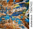 Brick Wall in Ghetto. Messy Background. - stock photo