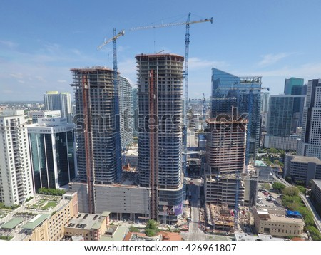 BRICKELL - MARCH 15: Aerial image of Brickell Heights construction site located at 35 SW 9th Ave set for late 2016 completion March 15, 2016 in Brickell FL