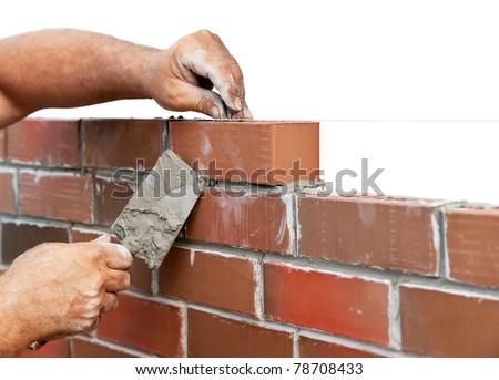 Bricklaying isolated on white