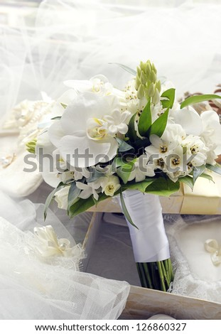 Bridal bouquet of orchids.