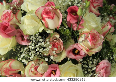 Bridal floral decorations in white and pink, mixed flowers