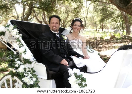 Bride and groom ride away in horse carriage