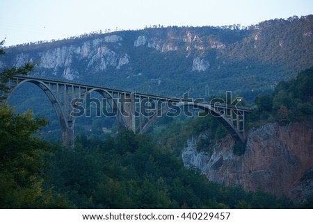 bridge over the river in the mountains of Montenegro