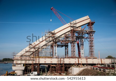 Bridge under construction over Danube river near Novi Sad