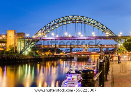 Bridges over the River in Newcastle upon Tyne, UK, at Twilight