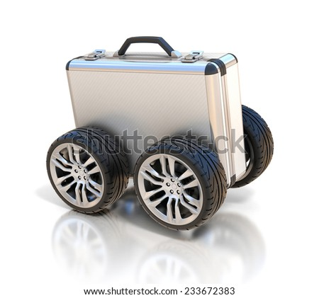 briefcase on wheels 3d concept