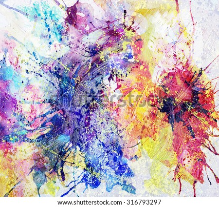 bright abstract background painted with oil paints