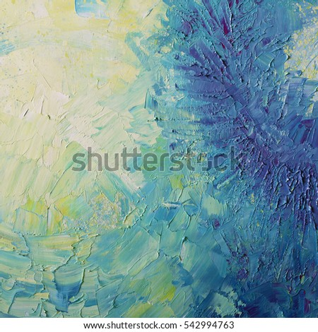 bright abstract background painted with oil paints,blue and yellow colors, cosmic style