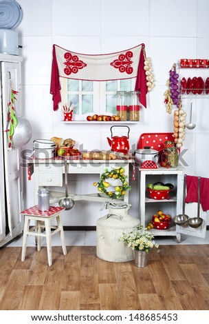 bright and cozy rural kitchen utensils with red polka dots